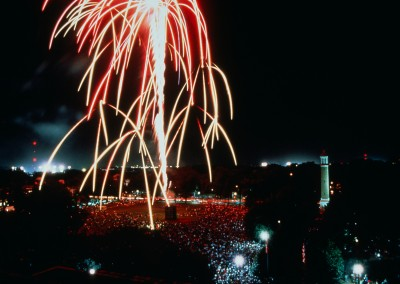Homecoming Fireworks over the Quad