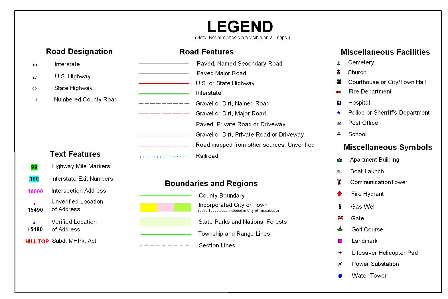 What Is A Map Legend Map Legend   Tuscaloosa County Alabama